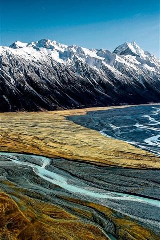 iPhone Papéis de Parede Hooker Valley, Aoraki Mount Cook, Nova Zelândia, montanhas, rio