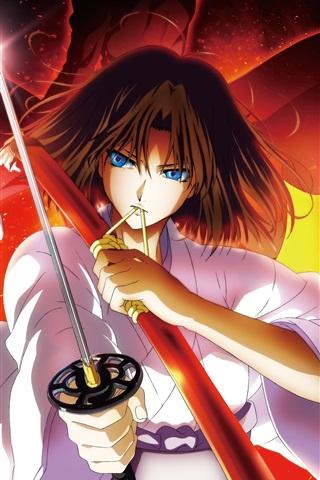 iPhone Wallpaper Kara no Kyoukai, sword, blue eyes