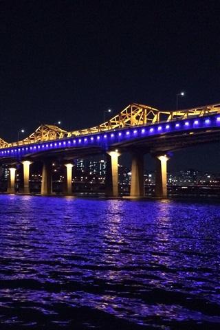 iPhone Wallpaper Korea, Han River, bridge, blue illumination, night