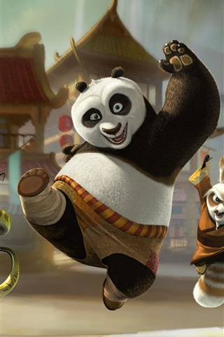 iPhone Hintergrundbilder Kung Fu Panda 3, glücklich Abfahrt
