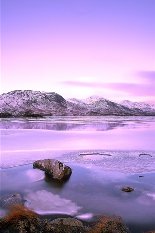 iPhone Wallpaper Lake, mountains, stones, snow, winter, sky, clouds