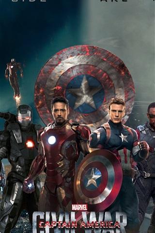 iPhone Wallpaper Marvel movie 2016, Captain America: Civil War