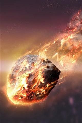 iPhone Wallpaper Meteorite, friction, fire, sky