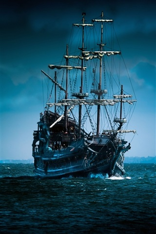 iPhone Wallpaper Pirate ship sailing under the moonlight