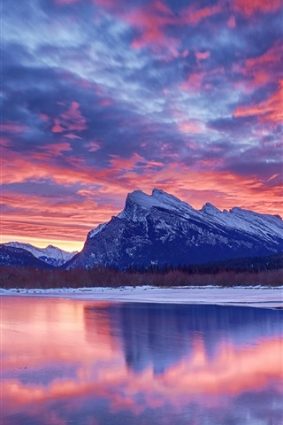 iPhone Wallpaper Winter, snow, lake, sky, clouds, sunset, glow, mountain