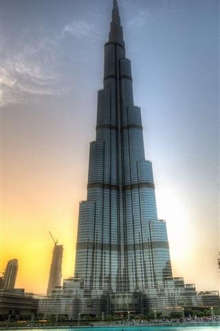 iPhone Wallpaper Amazing buildings, Burj Khalifa, Dubai, sunset
