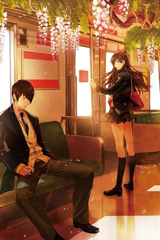 iPhone Wallpaper Anime, metro, pink flowers, boy and girl