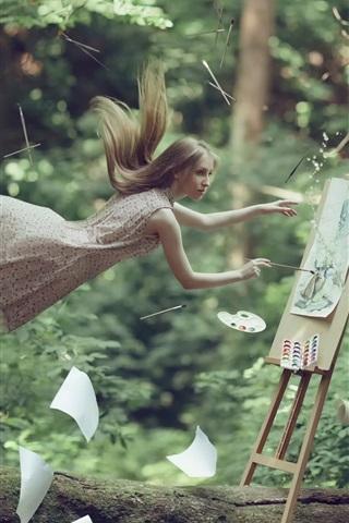 iPhone Papéis de Parede Artista menina, voando, desenho, papel, imagens criativas