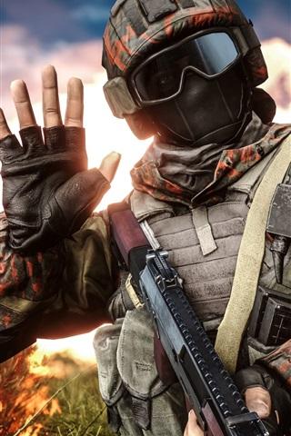 iPhone Wallpaper Battlefield 4, soldier, helmet, goggles, hand