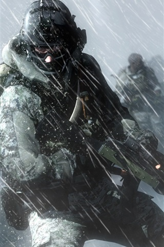 iPhone Wallpaper Battlefield 4, soldiers, action in the rain