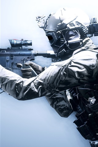 iPhone Wallpaper Battlefield 4, soldiers, weapons