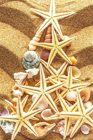 iPhone Wallpaper Beach, sands, seashells, starfish, Christmas tree