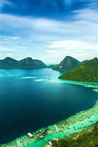 iPhone Wallpaper Bohey Dulang Island, Malaysia, tropical, sea, coast