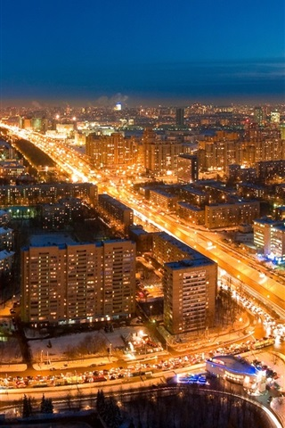 iPhone Wallpaper City night, lights, road, Moscow, Russia