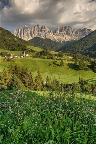 iPhone Wallpaper Dolomites, Santa Magdalena, Italy, fields, mountains, trees, houses