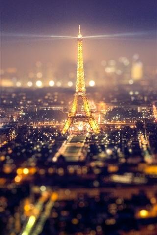 iPhone Wallpaper France, Paris, city, Eiffel Tower, lights, beautiful night