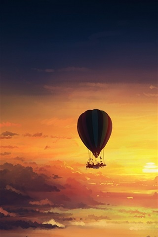 Hot Air Balloon Sunset Art Painting 640x1136 Iphone 5 5s 5c Se Wallpaper Background Picture Image