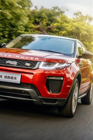 iPhone Wallpaper Land Rover Range Rover red SUV car speed, road, sun rays