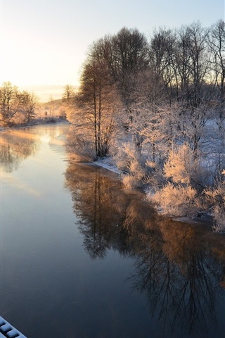 iPhone Wallpaper Morning scenery, Sweden, river, winter, snow