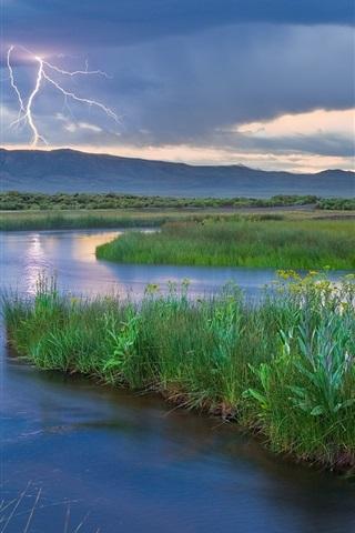 iPhone Wallpaper Mountains, lightning, river, grass, dusk, nature landscape