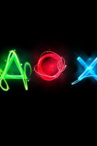 iPhone Wallpaper Playstation colorful logo, black background