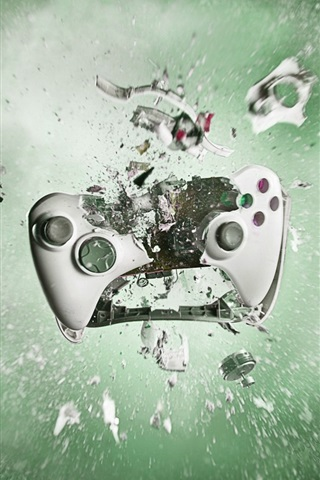 iPhone Wallpaper Playstation gamepad smashing into pieces, creative pictures