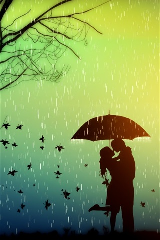 iPhone Wallpaper Romance, lovers, tree, leaves, rainy day, umbrella, creative design