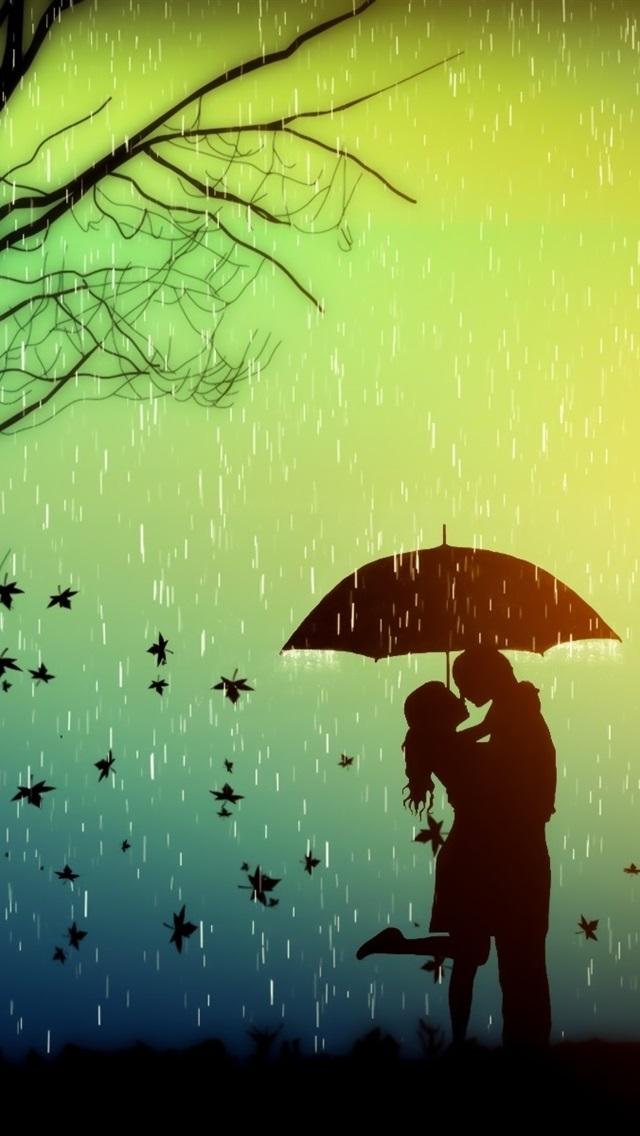 Romance Lovers Tree Leaves Rainy Day Umbrella Creative