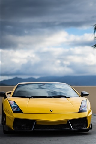 Wallpaper Yellow Lamborghini And Black Bmw Cars Front View 1920x1080