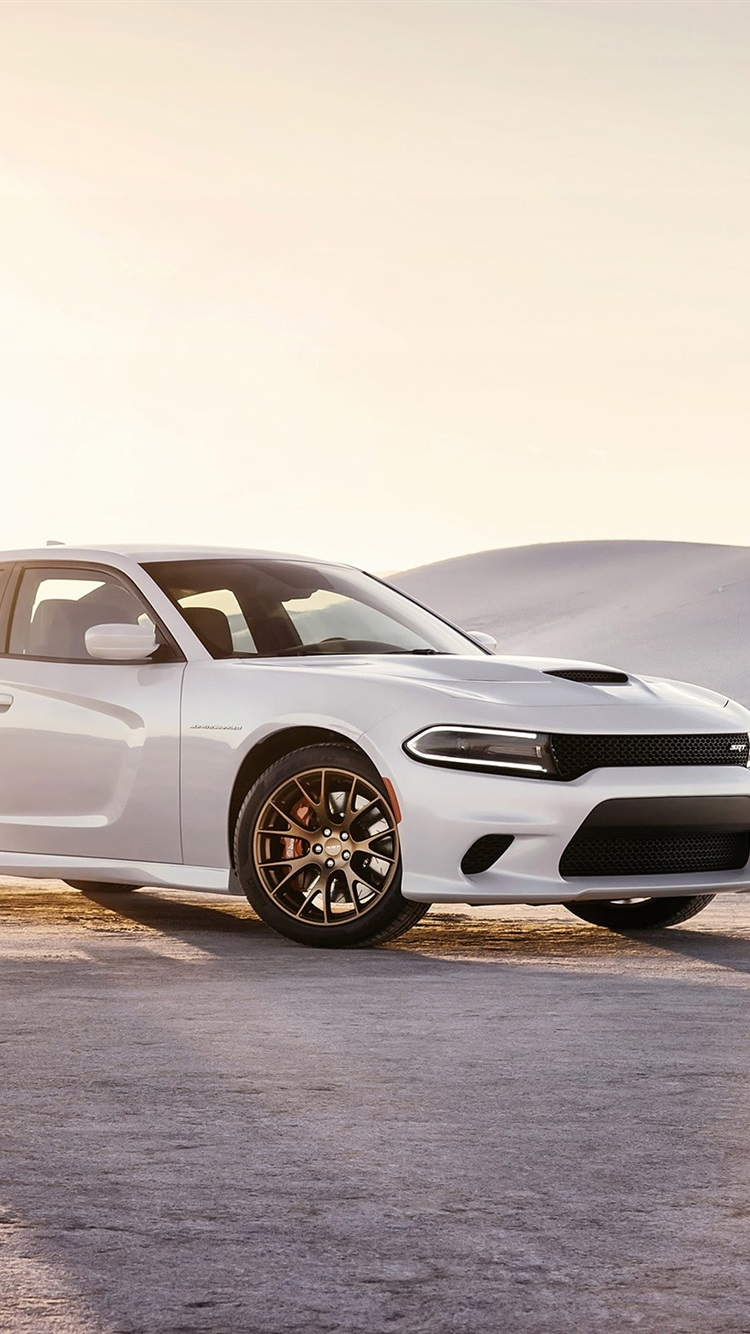 2015 Dodge Charger Srt White Car At Sunset 750x1334 Iphone 8