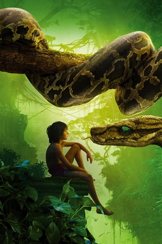 iPhone Wallpaper 2016 The Jungle Book, boy and snake
