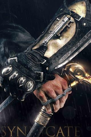 iPhone Papéis de Parede Assassins Creed: Syndicate, assassino, faca, chuva