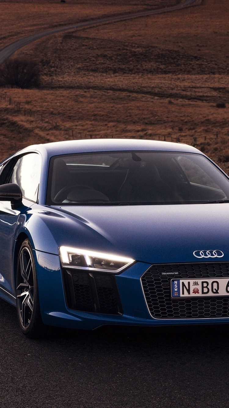Audi R8 V10 Blue Car Front View Lights 750x1334 Iphone 8 7 6 6s