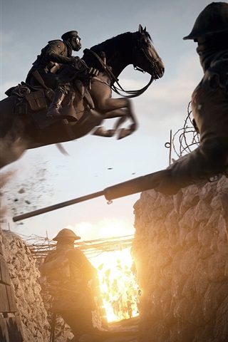 iPhone Wallpaper Battlefield 1, riding horse