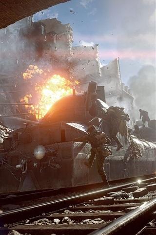 iPhone Wallpaper Battlefield 1, ruins, train