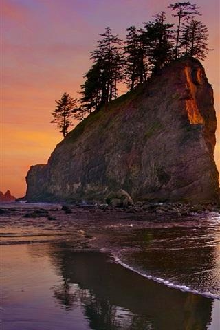 iPhone Wallpaper Beach, sea, coast, sunset, Olympic National Park, Washington, USA