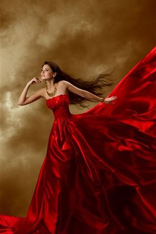 iPhone Wallpaper Beautiful red dress girl, jewelry, long hair, curls, art posture