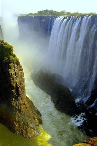 iPhone Wallpaper Beautiful waterfalls, Victoria Falls, Livingstone, Africa