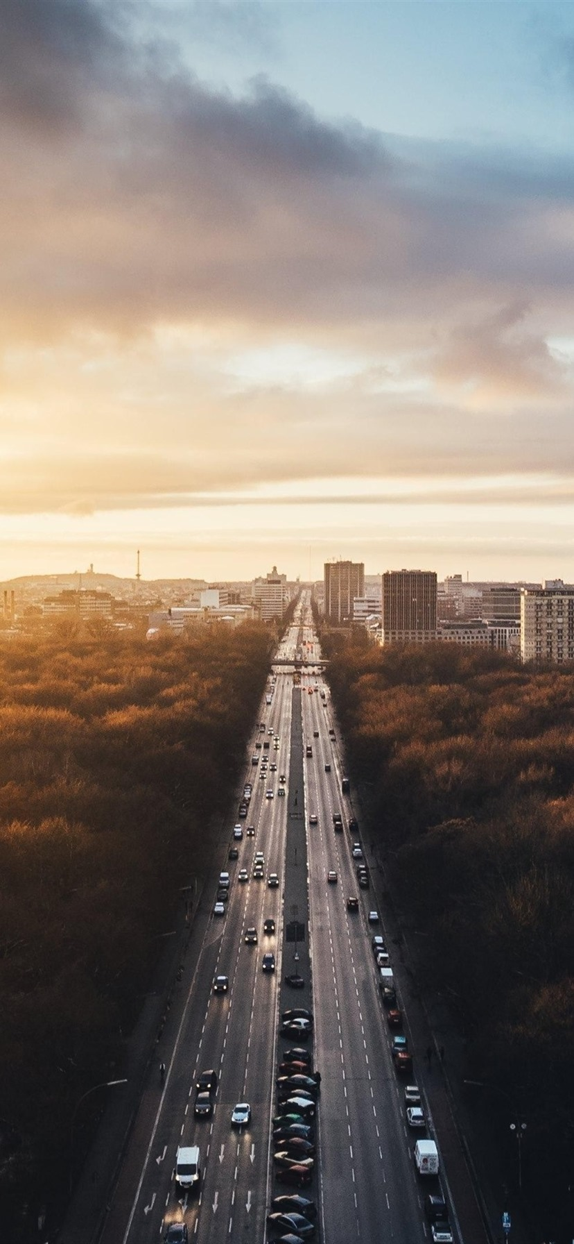 Wallpaper berlin germany city landscape road traffic buildings trees sunset 3840x2160 uhd - Background images 4k hd ...