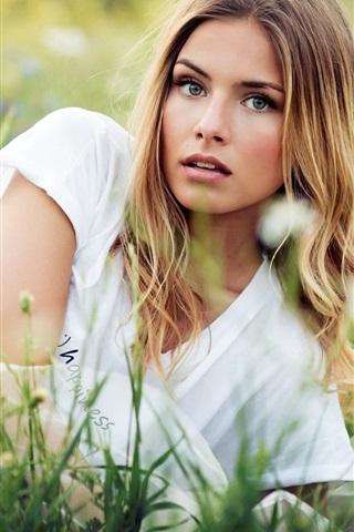 iPhone Wallpaper Blonde girl lying the grass, summer