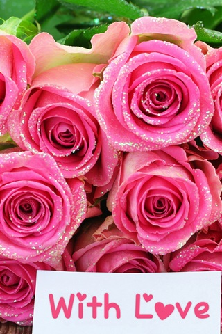 iPhone Wallpaper Bouquet pink rose flowers, with love