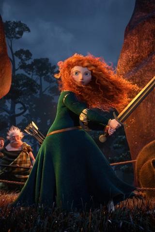 iPhone Обои Храбрый, Disney фильм, Мерида
