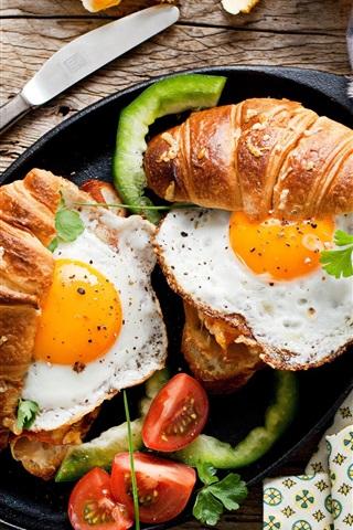 iPhone Wallpaper Breakfast, food, bread, fried eggs, tomato, coffee