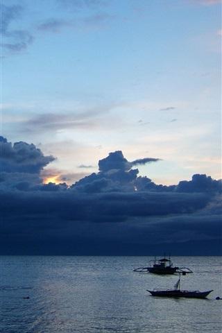 iPhone Wallpaper Cebu, Moalboal, Philippines, sunset, dusk, clouds, sea, boats