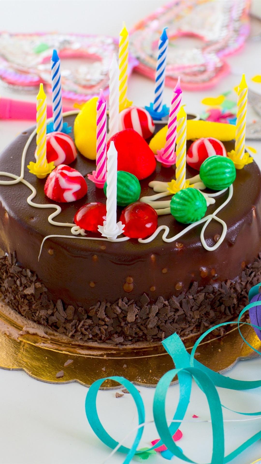 Wondrous Chocolate Cake Happy Birthday Candles Colored Ribbon 1080X1920 Personalised Birthday Cards Veneteletsinfo