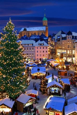 iPhone Wallpaper Christmas market, Annaberg-Buchholz, Germany