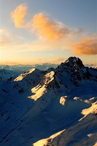 iPhone Wallpaper Clouds, snow, mountains, Alps, summer, sunset