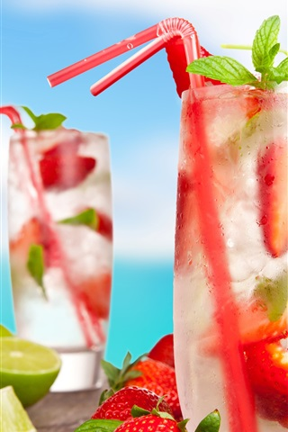 iPhone Wallpaper Cold drinks, cocktails, mojito, fruits, strawberry, lemon, coconut, summer