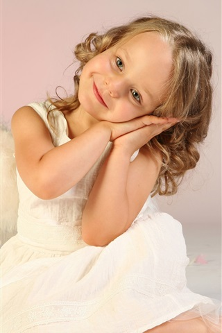 iPhone Wallpaper Cute little girl, child, angel, wings