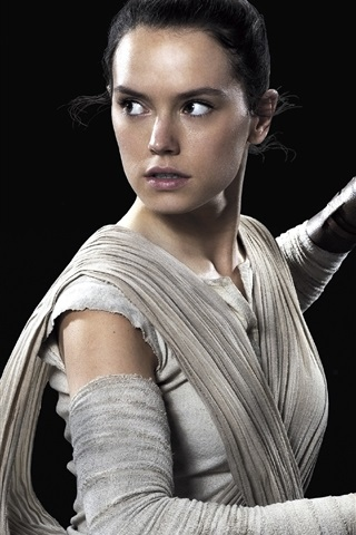 iPhone Wallpaper Daisy Ridley as Rey, Star Wars: The Force Awakens